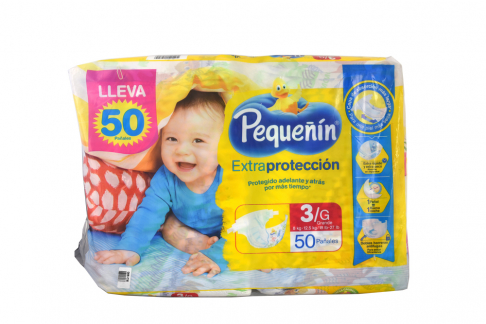 Etapa 3 G Pañal Pequeñín Extra Protección Paca Con 50 Unidades