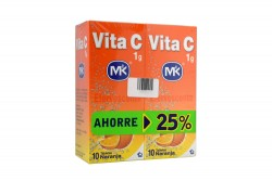 Vita C 1 g Sabor Naranja 2 Frascos Con 10 Tabletas Efervescentes C/U
