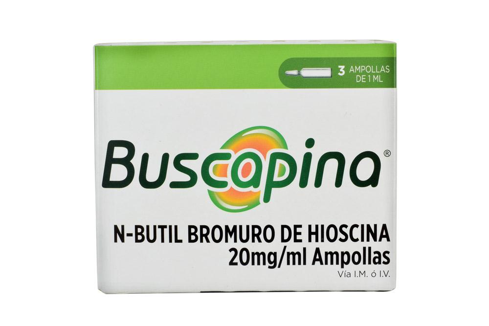 Buscapina Solución Inyectable 20 mg / 1 mL Caja Con 3 Ampollas Rx