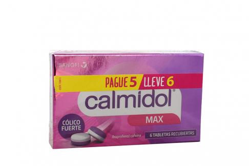 Calmidol Max 400 / 65 mg Caja Con 6 Tabletas - Pague 5 Lleve 6