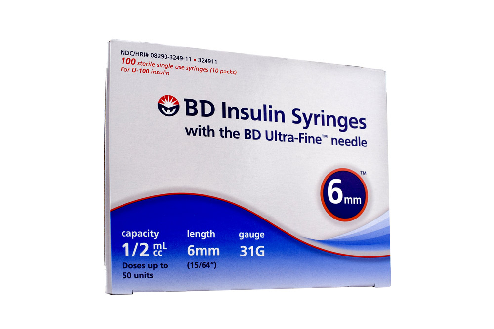 Jeringa Insulina Bd Ultrafine  0.5 mL 31 G x 6Mm  Ultrafine Caja Con 100  Unidades