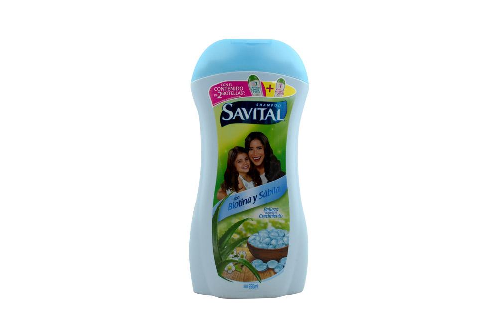 Savital Shampoo Con Biotina & Sábila Frasco Con 550 mL – Belleza Durante El Crecimiento