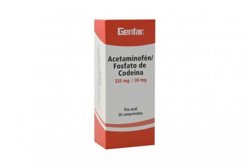 Acetaminofén + Fosfato de Codeína 325 / 30 mg Caja Con 30 Comprimidos Rx