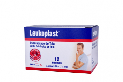 """Esparadrapo De Tela Leukoplast Tela 1"""" X 1 Yardas Caja Con 12 Unidades"""