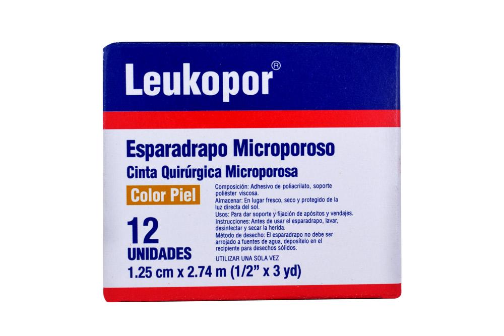 Esparadrapo Microporoso Leukopor Color Piel 1.25 cm x 2.74 m  Caja Con 12 Unidades