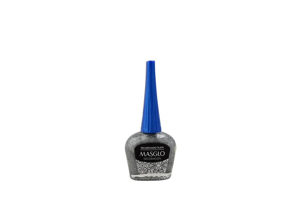 Esmalte Masglo Frasco Con 13.5 mL - Decoración Escarchado Plata