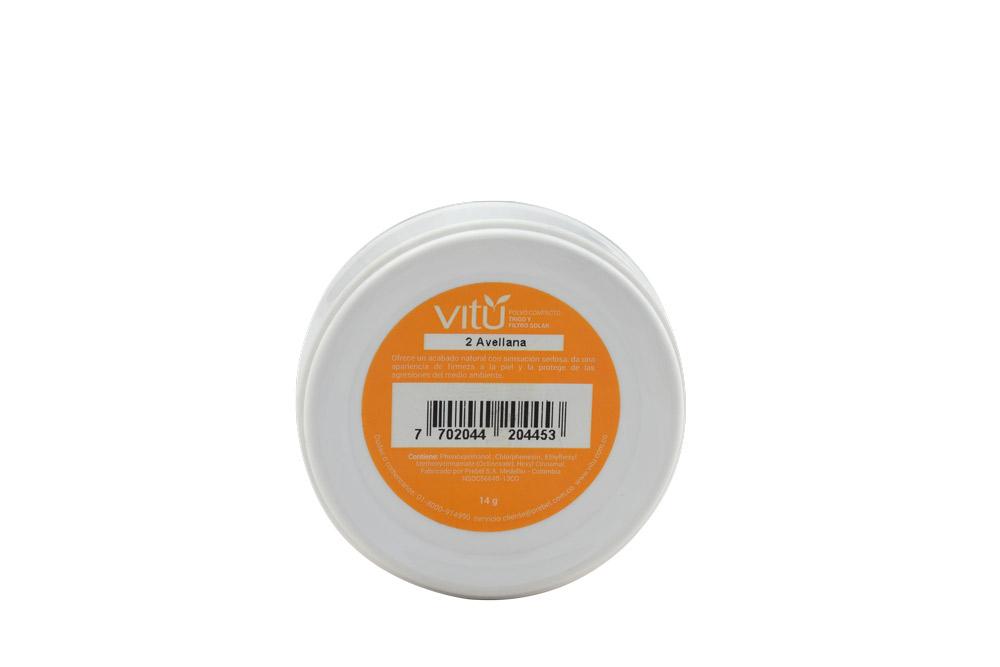 Polvo Compacto Vitú Con Trigo y Filtro Solar Estuche Con 14 g - Tono Avellana