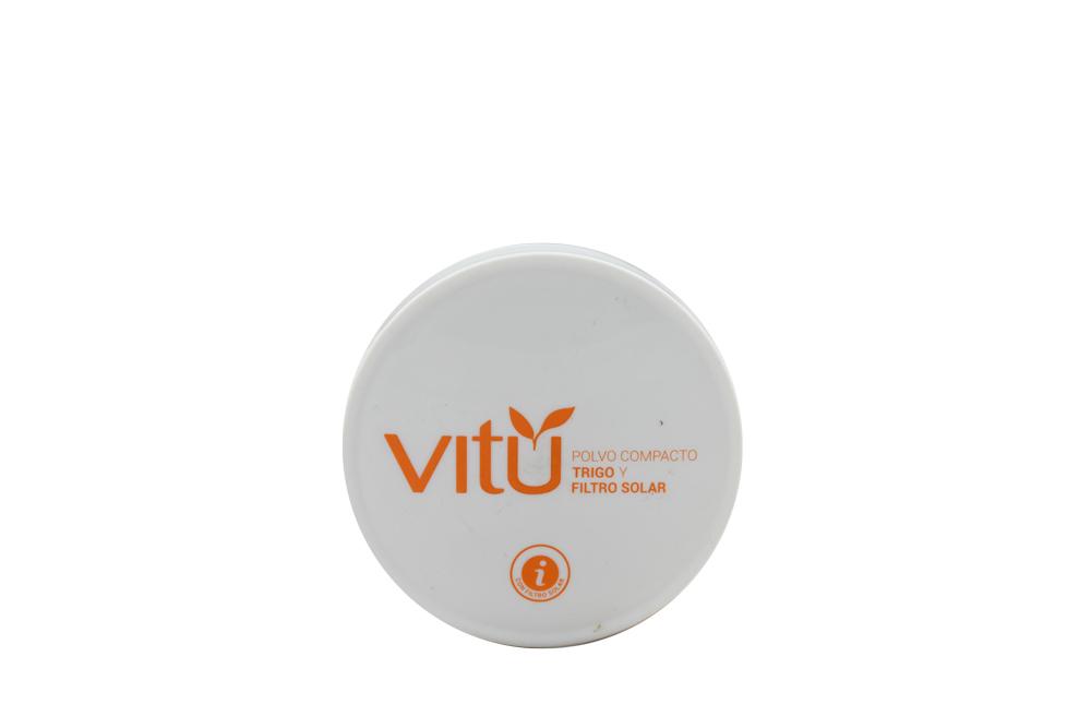 Polvo Compacto Vitú Con Trigo y Filtro Solar Estuche Con 14 g - Tono Castaña