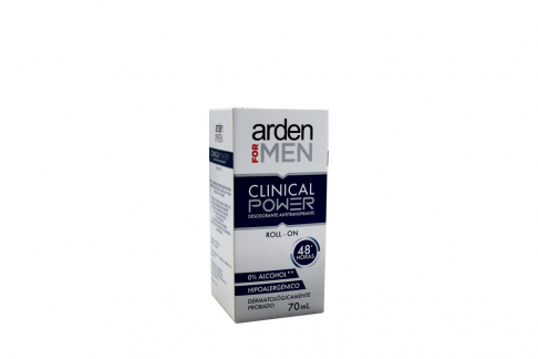 Desodorante Arden For Men Clinical Power Roll On Caja Con Frasco Con 70 mL