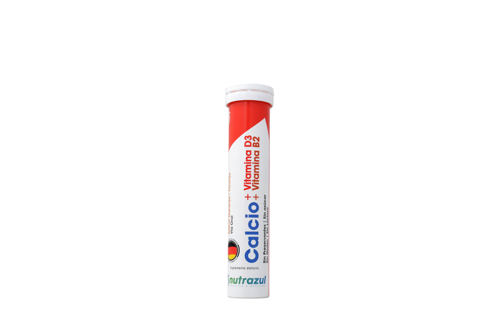 Calcio + Vitamina D3 + Vitamina B2 Tubo Con 20 Tabletas Efervescentes – Sabor Naranja
