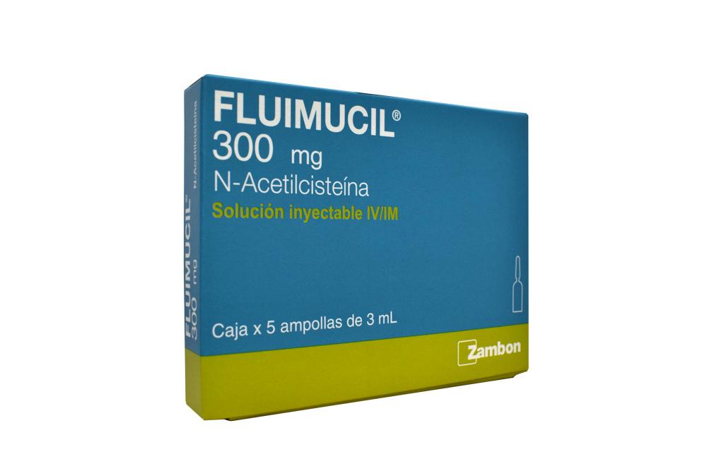 Fluimucil 300 mg Caja Con 5 Ampollas Rx
