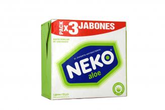 Jabón Neko Antibacterial Áloe Caja Con 3 Barras Con 125 g C/U