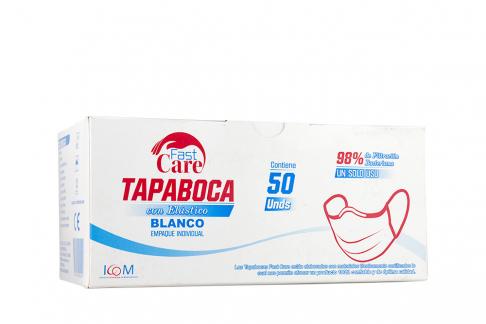 Tapabocas Fast Care Color Blanco 3 Pliegues Caja Con 50 Unidades