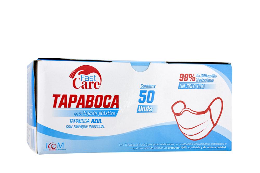 Tapabocas Fast Care Color Azul 3 Pliegues Caja Con 50 Unidades