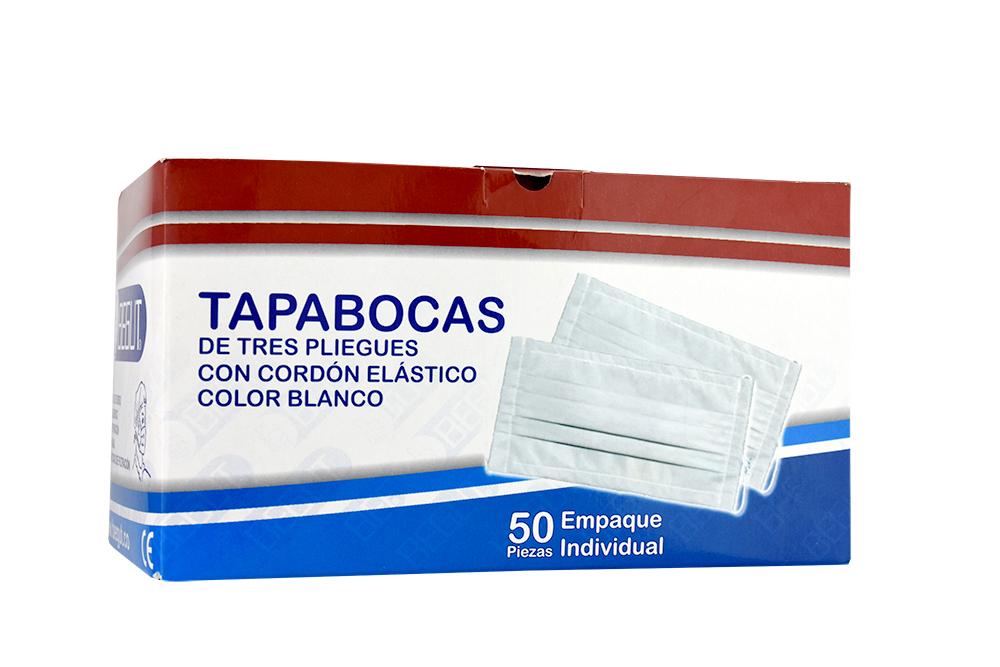 Tapabocas Begut De Tres Pliegues Blanco Caja Con 50 Unidades