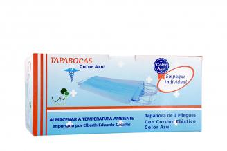 Tapabocas Uka Int 3 Pliegues Color Azul Caja Con 50 Unidades