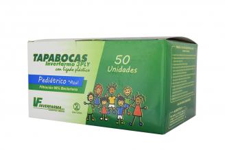 Tapabocas Pediátrico Azul Inverfarma Caja Con 50 Unidades