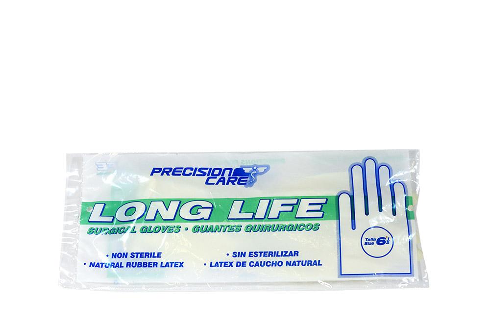 Guantes De Látex Long Life Talla 6 ½ No Estéril Bolsa Con 2 Unidades