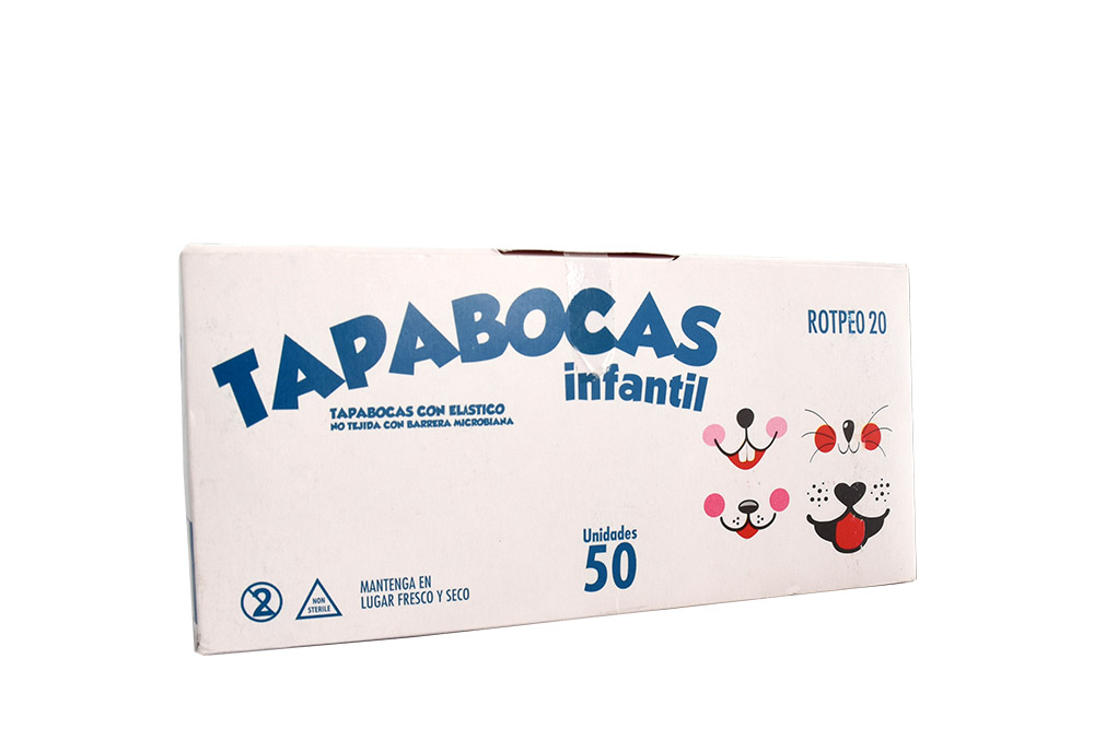 Tapabocas Infantil Con Elástico Alfa Safe Caja Con 50 Unidades