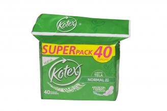 Toallas Kotex Normal Con Alas Paquete Con 40 Unidades