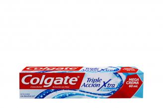 Crema Dental Colgate Triple Acción Extra Blancura Caja Con Tubo Con 60 mL