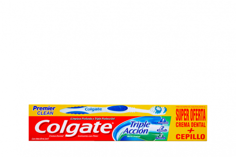 Crema Dental Colgate Triple Acción Premier Clean Caja Con Tubo Con 50 mL – Crema + Cepillo