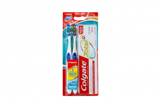 Cepillo Dental Colgate 360 Pack Con 2 Unidades + Crema Dental Total 12 Tubo Con 75 mL