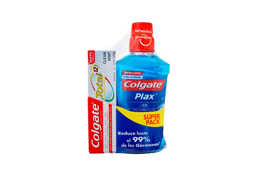 Enjuague Bucal Colgate Plax Ice Frasco Con 500 mL + Gratis Crema Dental Clean Mint Con 75 mL