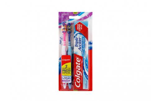 Cepillo Dental Colgate Triple Acción Pack Con 2 Unidades + Crema Dental Extra Blancura Tubo Con 60 mL
