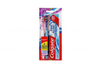 Cepillo Dental Colgate Triple Acción Pack Con 2 Unidades + Crema Dental Extra Blancura Tubo Con 60 mL