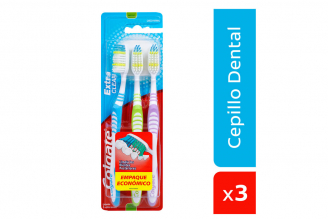 Cepillo Dental Colgate Extra Clean Empaque Con 3 Unidades