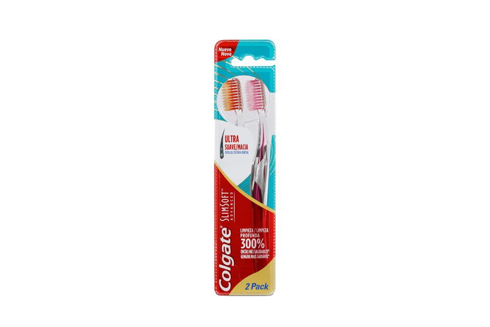 Cepillo Dental Colgate Slim Soft Advanced Empaque Con 2 Unidades