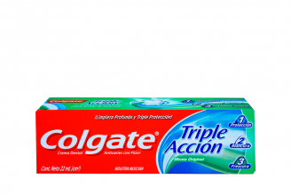 Crema Dental Colgate Triple Acción Menta Original Caja Con Tubo Con 22 mL