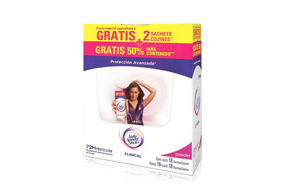 Desodorante Lady Speed Stick Clinical Crema Caja Con 18 Sachets