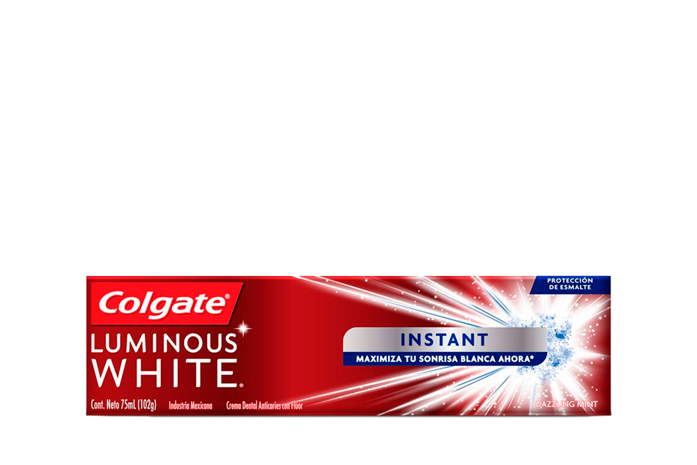 Crema Dental Colgate Luminous White Instant Caja Con Tubo Con 75 mL