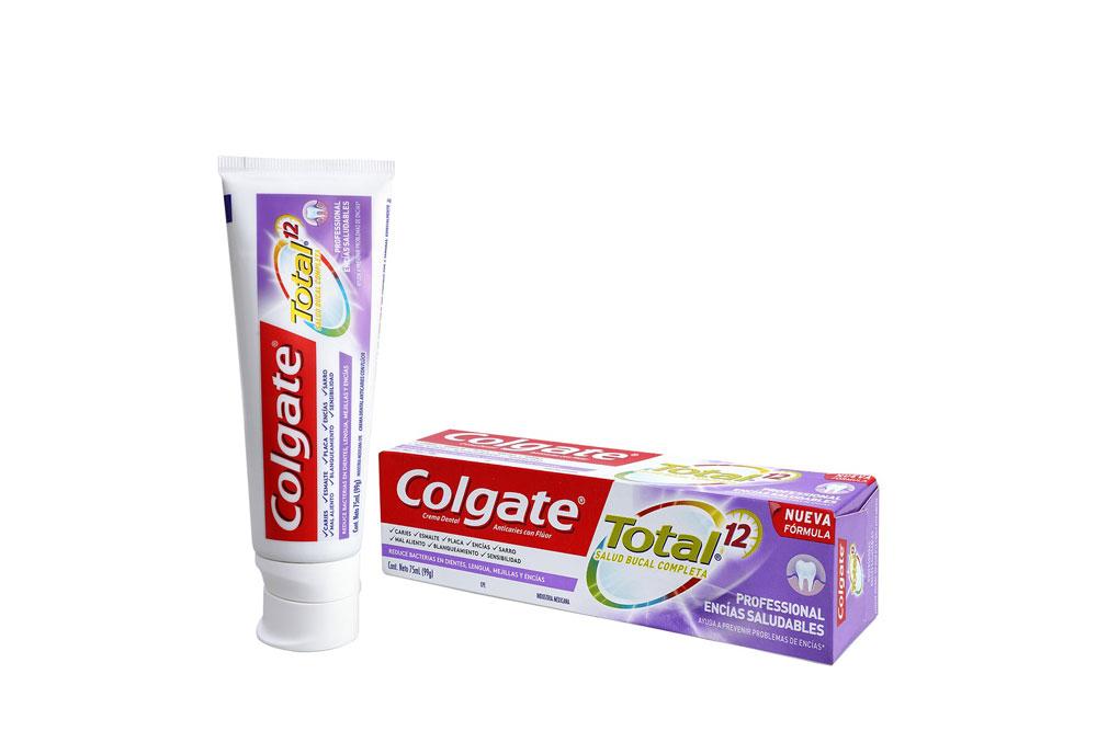 Crema Dental Colgate Total 12 Caja Con Tubo Con 75 mL