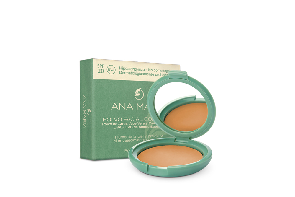 Polvo Facial Compacto Con Arroz Ana María Estuche Con 15 g - Tono No. 13 Arena