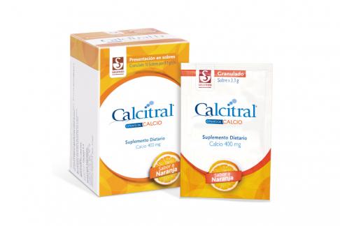 Calcitral 400 mg Granulado Caja Con 15 Sobres - Sabor Naranja