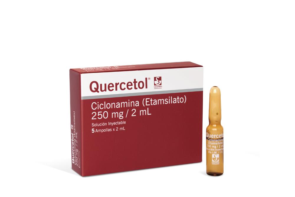 Quercetol Solución Inyectable 250 mg / 2 mL Siegfried Caja Con 5 Ampollas  Rx
