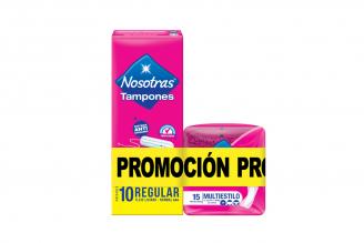 Tampones Nosotras Sin Aplicador Flujo Regular Caja Con 10 Unidades + 15 Protectores Multiestilo