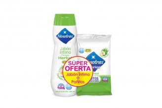Jabón Íntimo Nosotras Fórmula Herbal + Pañitos Humedos Frasco Con 200 mL