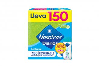 Protectores Diarios Nosotras Natural Respirable Tela Tipo Algodón Caja Con 150 Unidades