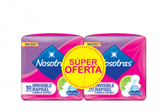 Nosotras Invisible Rapigel Cubierta Rapisec Empaque Con 2 Bolsas Con 10 Unidades C/U