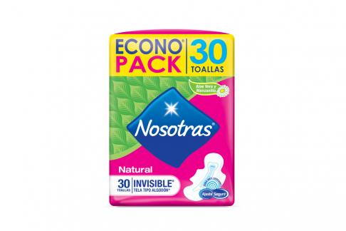 Toallas Nosotras Natural Invisible Econopack Empaque Con 30 Unidades