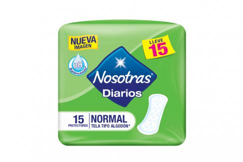 Protectores Nosotras Diarios Normal Tela Tipo Algodón pH Balanceado Empaque Con 15 Unidades