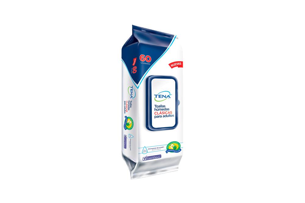 Toallas Húmedas Clásicas Para Adultos Tena Empaque Con 60 Unidades