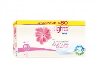 Protectores Diarios Normal Tena Lights Caja Con 80 Unidades