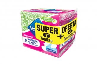 Toallas Nosotras Natural Invisible Clásica Paquete Con 6 Unidades + 5 Protectores Multiestilo