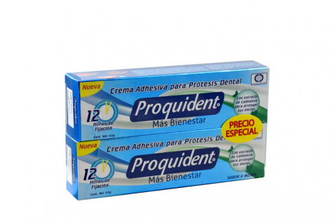 Crema Adhesiva Para Protesis Dentales Proquident Empaque Con 2 Tubos Con 40 g C/U