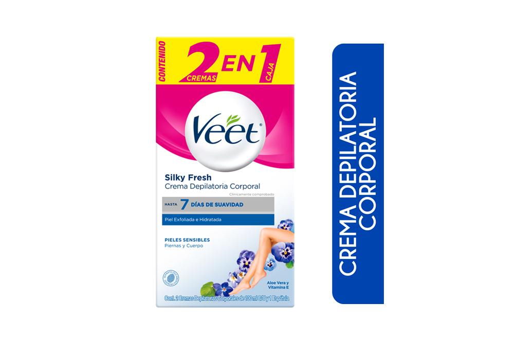 Crema Depilatoria Veet Silk & Fresh Aloe Vera Caja Con 2 Frascos Con 100 mL C/U